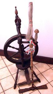 Spinning wheel, sitting distaff, and spindle from Hungary