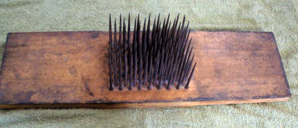 "Hackle with stencil on the back side ""BENJ. PIERCE/Chesterfield N.H."""