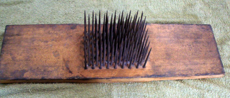 """Hackle with stencil on the back side """"BENJ. PIERCE/Chesterfield N.H."""""""