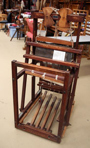 "Small 15"" Burnham floor loom with 4 shafts and 4 treadles."