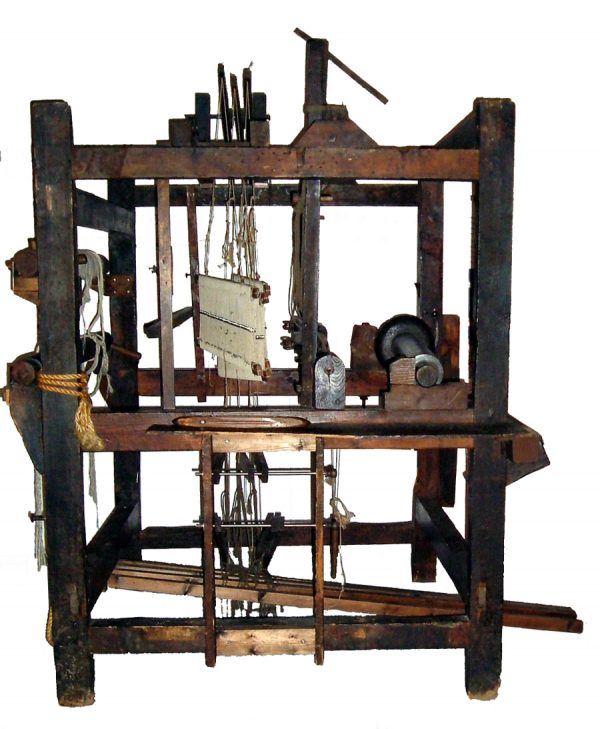 Plush loom from Banbury, England; side view.