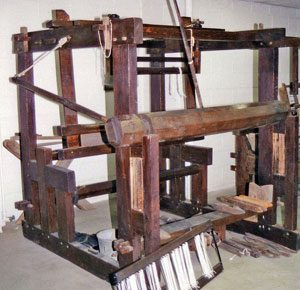 Loom #1, incomplete four-post loom in the Greene County Historical Society, Xenia, OH, from the rear.