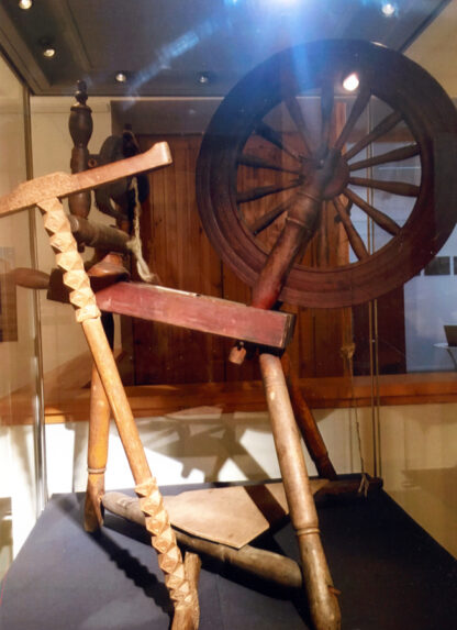 Spinning wheel and niddy-noddy.