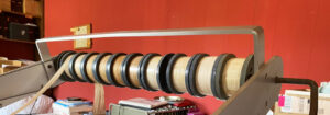 Close-up of pre-wound warp spools