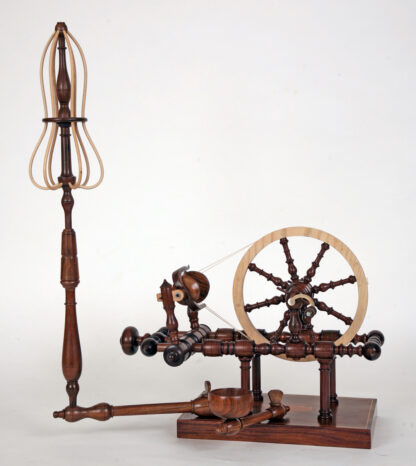 Tabletop spinning wheel built by David Bryant adapted from a spinning wheel designed by John Jameson of York, England (c. 1780–1802).