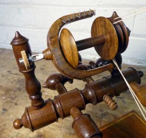 Detail of tabletop spinning wheel