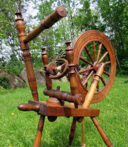 Brenda's family's J. PLATT spinning wheel